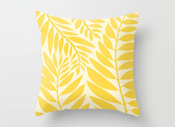 Yellow Palm Leaves Cushion Cover