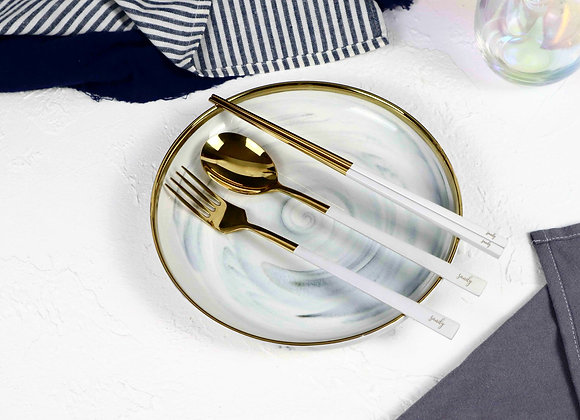Personalised Cutlery (Set of 3) - White & Gold