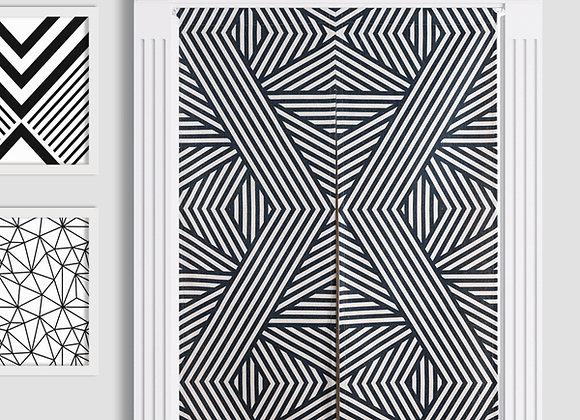 Monochrome Frazzles Pattern Door Curtain
