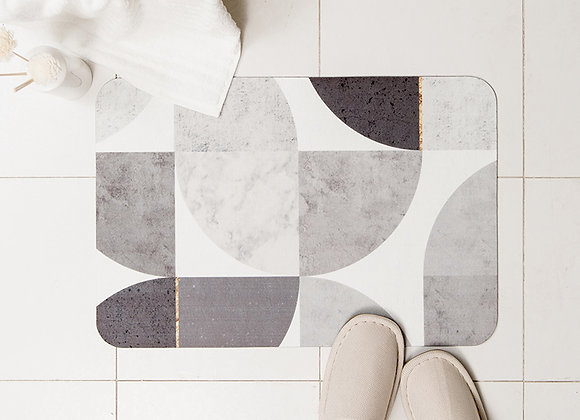 Geometric Grey Thin Bath Mat