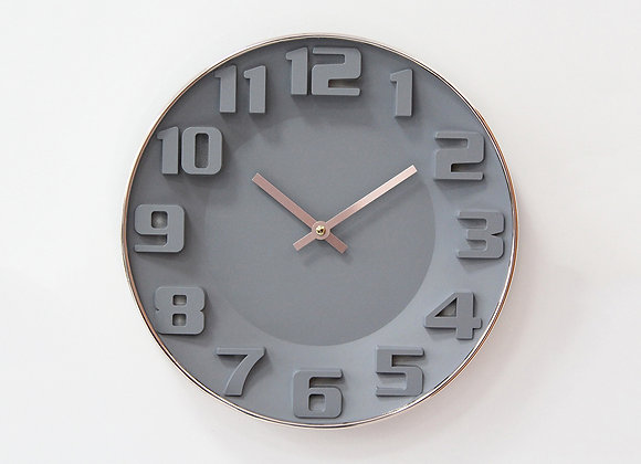 Rose Gold Rim Grey Clock