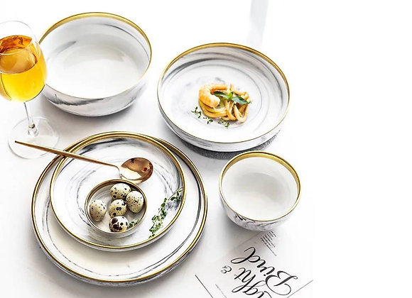 Marble Gold Rim Dinnerware