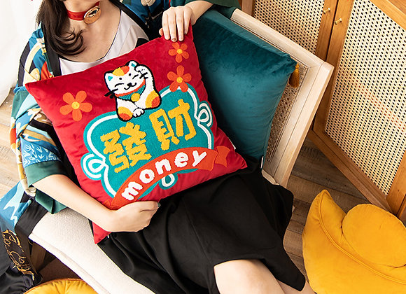 Fortune Cat 發财 Embroidered Cushion Cover