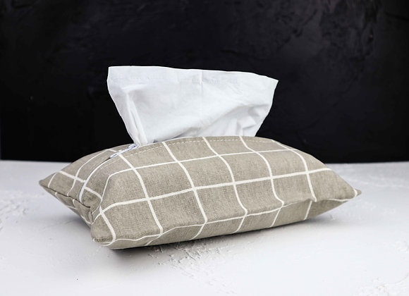 Grey Checkered Tissue Cover