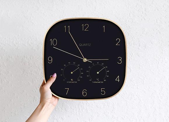 Retro Black Gold Rim Square Clock