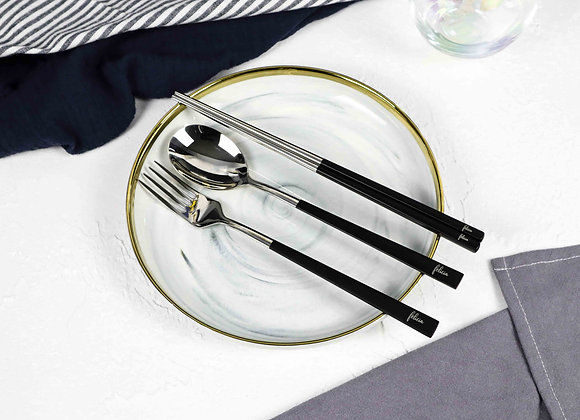 Personalised Cutlery (Set of 3) - Black & Silver