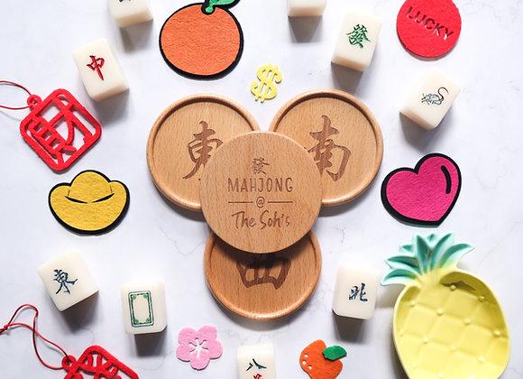 Double-Sided Mahjong Coaster Set