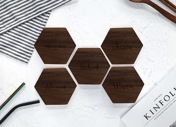 NAME ONLY Hexagon Coaster - Walnut
