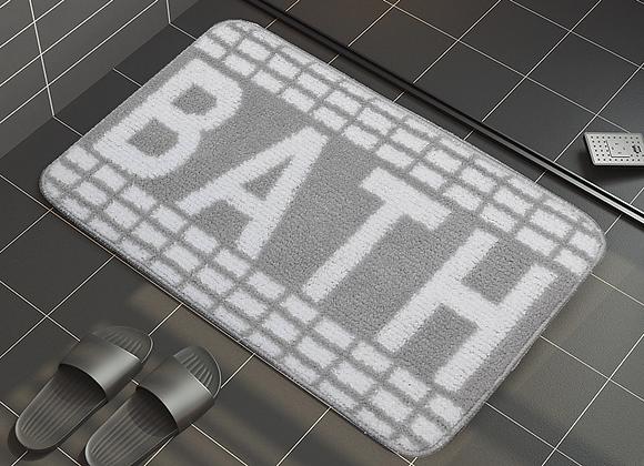 Checkered Grey Bath Mat
