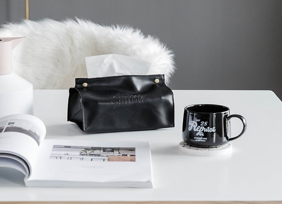 The Simple Life Button Tissue Cover - Black