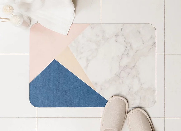 Marble Colourblock Thin Bathmat