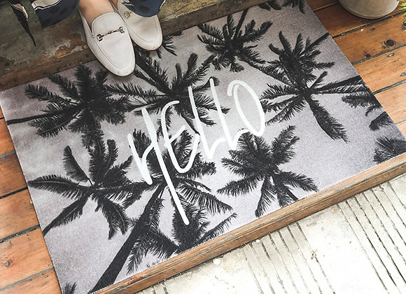 Palm Trees Hello Floor Mat