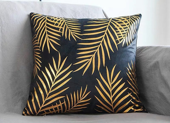 Black Gold Palm Leaves Cushion Cover
