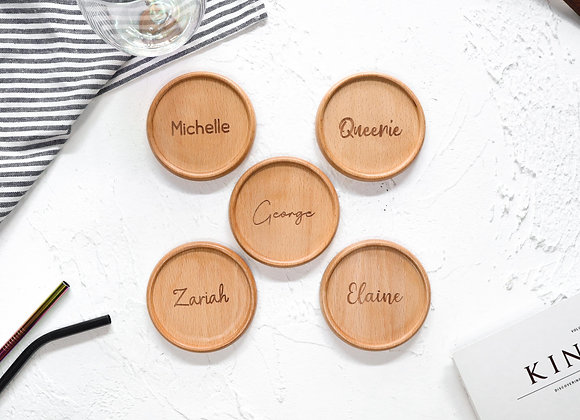NAME ONLY Round Coaster (Beech)