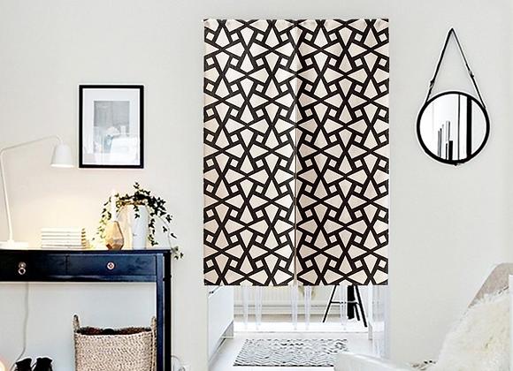 Monochrome Pinwheel Door Curtain