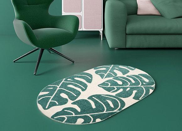 Split Leaves Oval Floor Mat