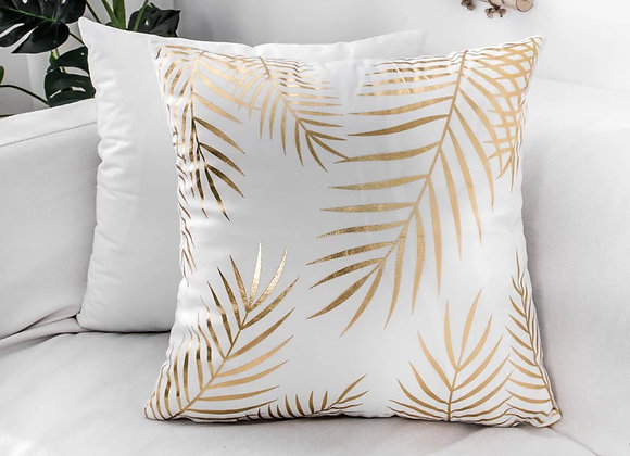 Gold Palm Leaves Cushion Cover