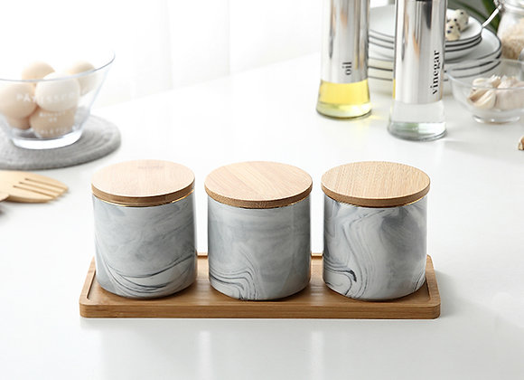 Marble Airtight Storage Canister (Set of 3)