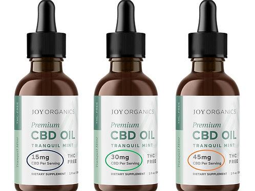CBD Oil Tinctures - Mint or Orange, 1oz Bottles (15mg, 30mg, 45mg serving sizes)