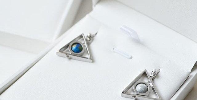 地球 x 月亮三角耳環 -- 銀色