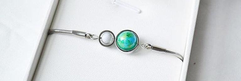 淺藍地球 x 月亮手鍊 -- 銀色