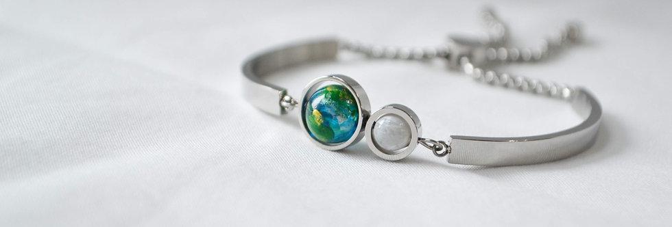 地球 x 月亮手鐲 -- 銀色