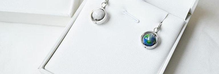 地球 x 月亮耳環 -- 銀色