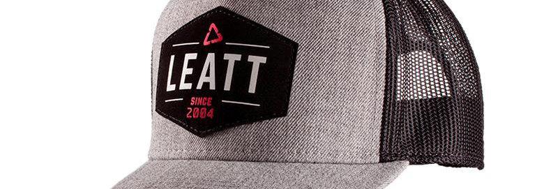 Leatt Team cap, grå/ sort mesh, Snapback Logo