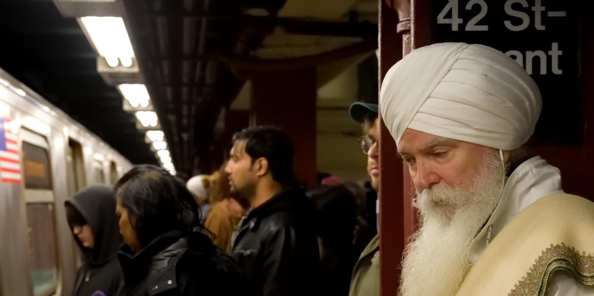 Sikh at Peace, Bryant Park Station, 2017