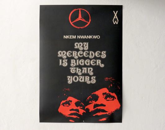 Agrandissement de la couverture du livre de Nkem Nwankwo, My Mercedes is Bigger Than Yours. Londres : Heinemann – African Writers Series, 1975. Design: George Hallett