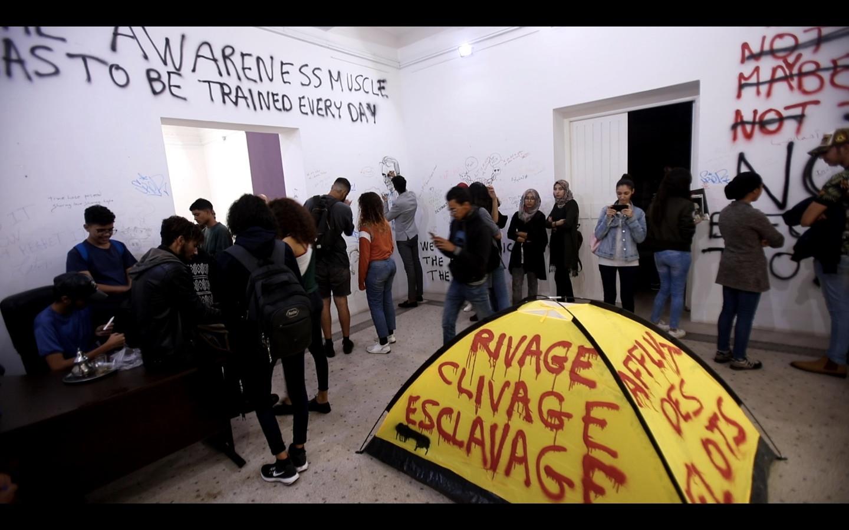 Intervention de Thierry Geoffroy avec les étudiants de l'École supérieure des beaux-arts de Casablanca.