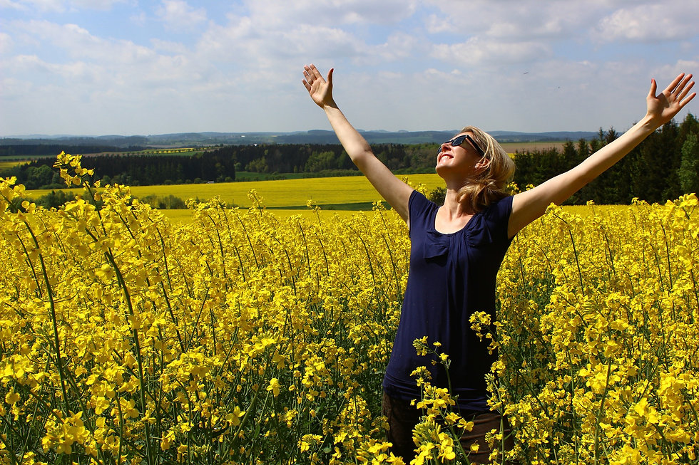 joyful lady under the sky