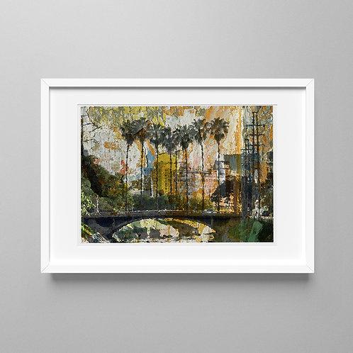 Pontilhão com palmeiras