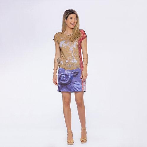 Vestido azulejo com flor roxa