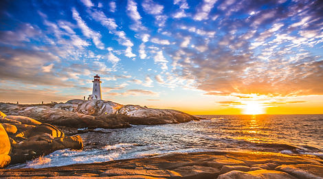 Peggy's cove lighthouse sunset ocean vie