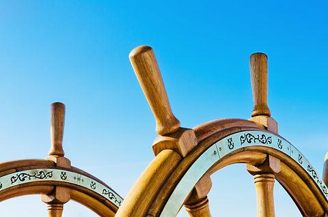 Steering wheel of an old sailing vessel,