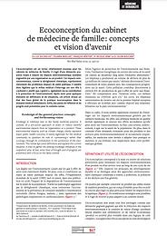 Ecoconception du cabinet de médecine de famille : concepts et vision d'avenir
