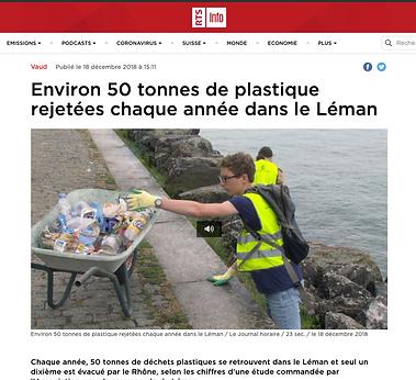 Environ 50 tonnes de plastique rejetées chaque année dans le Léman