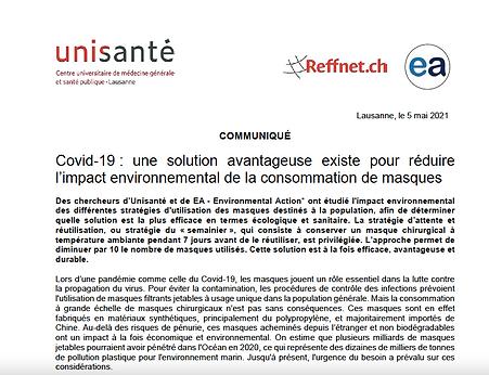 Nouvelle étude sur l'impact environnemental des masques COVID