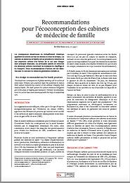 Recommandations pour l'écoconceptions des cabinets de médicine de famille