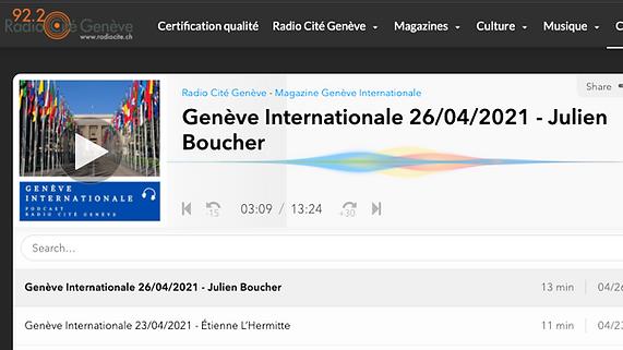 Genève internationale 26/04/2021 - Julien Boucher