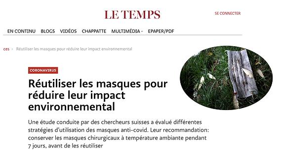 Réutiliser les masques pour réduire leur impact environnemental