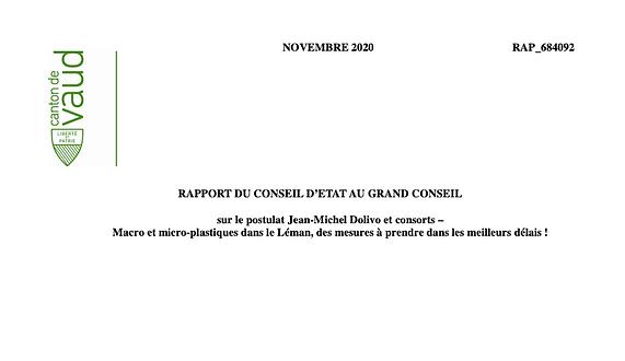 Rapport du conseil d'état au grand conseil vaudois