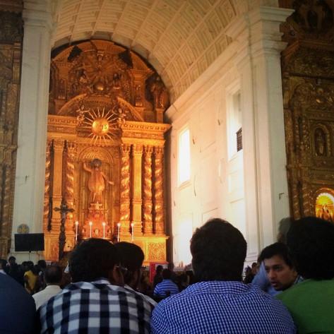 PHOTO:  Marigolds & the Virgin Mary (Goa, India)