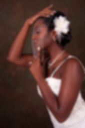 Bride with veil, hair styled, white dress, african american bride