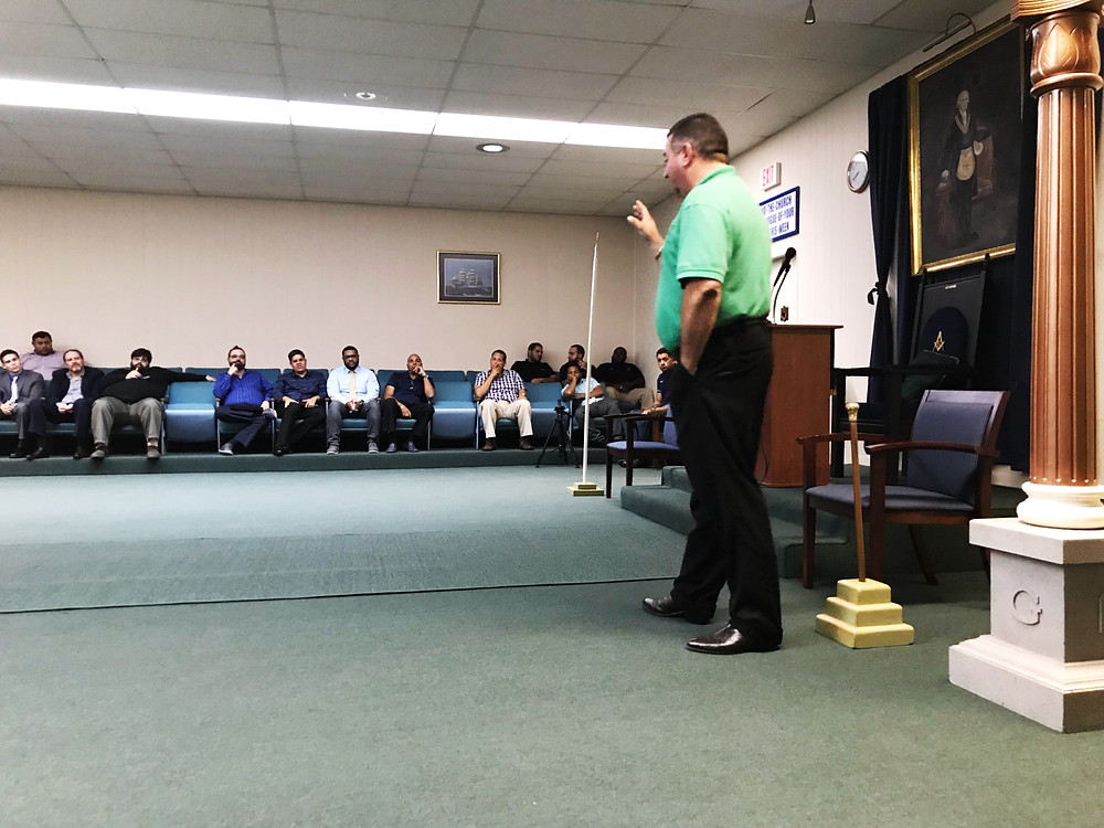 R:. W:. Joe Fleites conducting lecture