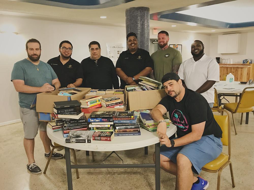 The Brothers with the book donations