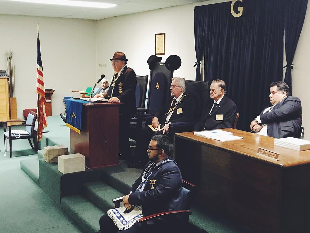 MWGM John E. Karroum presiding over ceremony