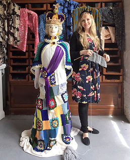 Life-size knitted crocheted Queen made by Ellie for Clovelly Yarn Bomb