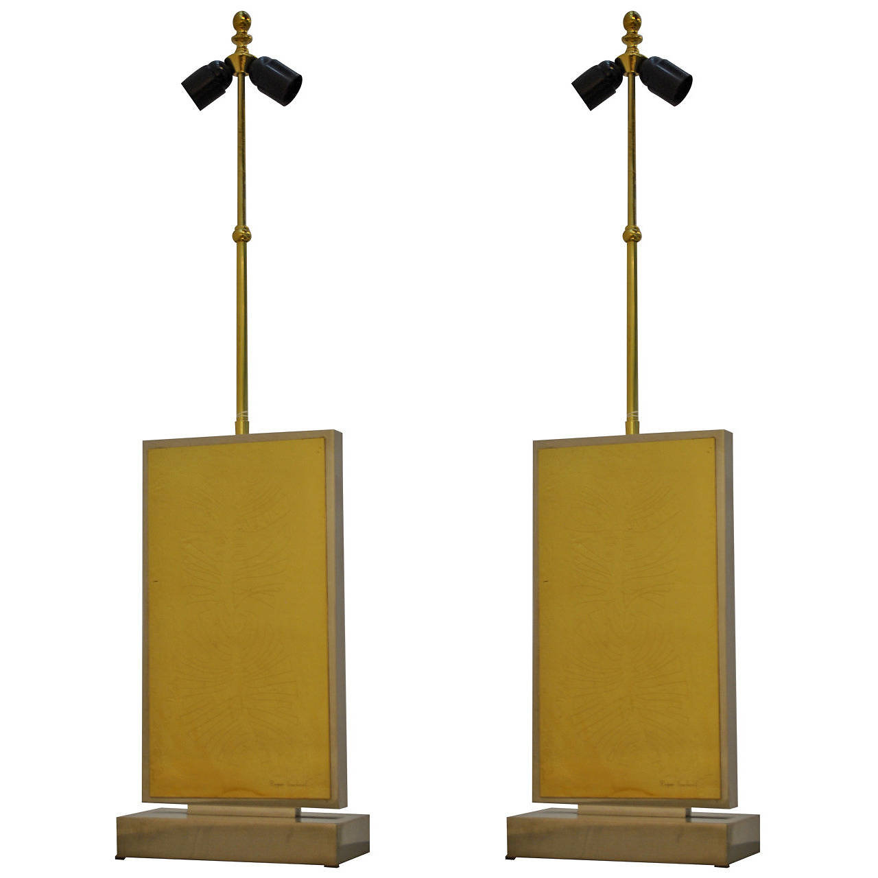 A Very Rare Pair Of Chrome And Brass Table Lamps By Roger Vanhevel With  Stylized Leaf Pattern. Signed. Come Without Shades. A Perfect Large Pair Of  Lamps ...